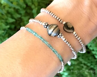 Tourmaline and Karen Hill Tribe Sterling Bracelet / Boho Gemstone Bracelet / Tourmaline Slice Bracelet / Delicate Stacking Bracelet