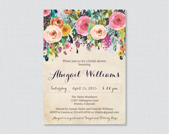 Bridal Shower Invitation Printable or Printed - Floral Bridal Shower Invites - Shabby Chic Colorful Flowers Garden Bridal Shower 0002-A