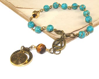 Prayer & Meditation Beads for Members of 12 Step Programs - Turquoise, Tigers Eye and Brass
