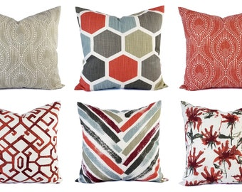 Red Pillow Sham - Red Grey Pillow Cover - Red Throw Pillow Cover - Red Decorative Pillow Cushion Cover Pillow - Red Accent Pillow