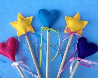 2, 4 or 6  Felt Fairy Princess Wands Star or Heart
