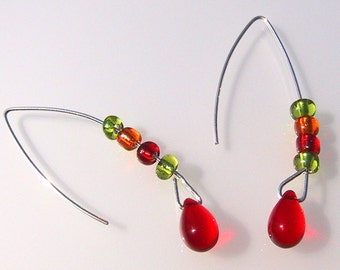 Hard Kandi Arc Earrings red lime green and orange glass on sterling silver