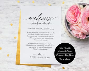 Printable Wedding itinerary template, Wedding Itinerary, Wedding Welcome Letter, Wedding Itinerary, Print 2 sides, MSW109