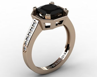 Modern Russian 14K Rose Gold 2.0 Ct Princess Black And White Diamond Engagement Ring R1106-14KRGBD