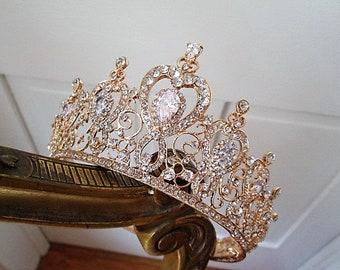 Bridal crown gold bridal full crown cubic zirconia wedding crown Swarovski bridal crown. TZARINA.