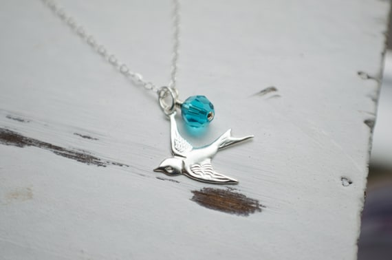 Bird Necklace with Birthstone Crystal - Sterling Silver   Personalized Gifts   Modern Jewelry   Sparrow Flying West   Nature Inspired