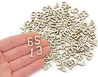 110pcs. Wooden Numbers (1,5cm) Wood Numbers Embellishments Shapes Art Craft Decoration MG000690
