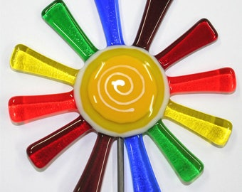 Glassworks Northwest - Brilliant Rainbow Daisy Flower Stake - Fused Glass Garden Art