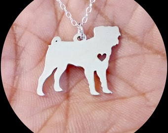 Pug Necklace - Engraving Pendant - Sterling Silver Jewelry - Gold Jewelry - Rose Gold Jewelry - Personalized Dog Pet Jewelry Engrave Charm