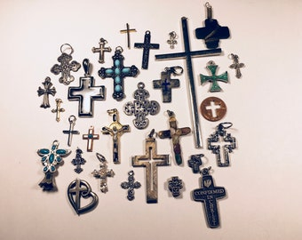 30 mixed assorted crosses, pendants, charms, religious jewelry