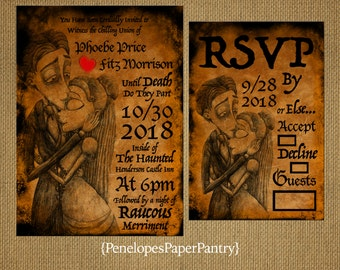 Corpse Bride Halloween Theme Wedding Invitations,Faux Antique Paper With Burnt Edges,Red Heart,Opt RSVP Card,Customizable,Black Envelopes