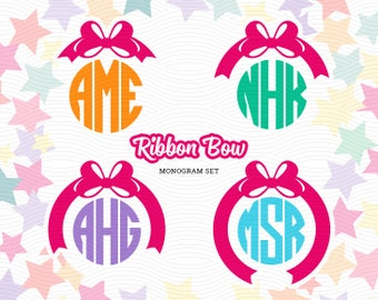 Ribbon Bow Circle Monogram Frames (SVG, EPS, DXF, Studio3) Cut Files for use with Silhouette Studio, Cricut Design Space, Cutting Machines