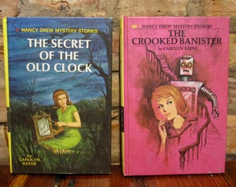 Vintage Books • Vintage Nancy Drew Books • Secret Of The Old Clock Crooked Banister • 1980s Nancy Drew Girl Detective • Vintage Series Books