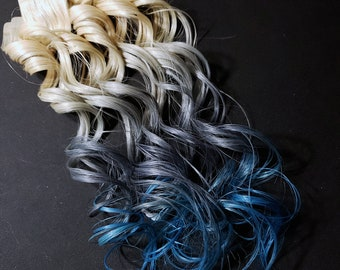 "18"" #613 Blonde Silver and Blue Ombre Seamless Tape in Human Hair Extensions Pastel Hair Mermaid Unicorn Hair For Festivals Rave Wedding"