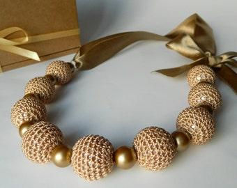 Beige crochet necklace. Crochet jewelry.  Bridal jewelry. Bridesmaid jewelry. Necklace on ribbon. Motherdays gift