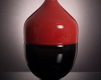 Imperial Red and Dark Gray Incalmo Vase, Hand Blown Decorative Glass Vase, Offhand Glass, Modern, Minimal, Classy