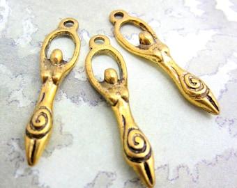 6 Antique gold ferility Goddess charms pegan Goddess Mother earth pendants yoga female charm jewelry  supply HP083-(AA3),