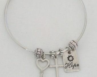 Christian friends/Custom Bracelet/ Faith Bracelet/ Hope Bracelet/ Friendship Bracelet/ Expandable Bracelet/ Sterling Silver Bracelet