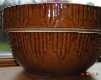 Vintage Brown Yellow Ware Crock Pick Fence Bowl