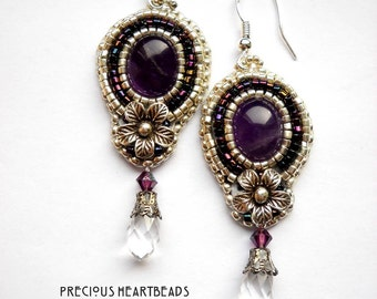 Bead Embroidery Earrings Amethyst Hill Tribe Swarovski Sterling Silver Bead Embroidered