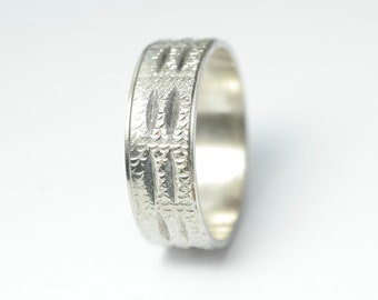 Vintage retro brutalist modernist abstract , sterling silver, 925, wedding band ring - jewellery jewelry