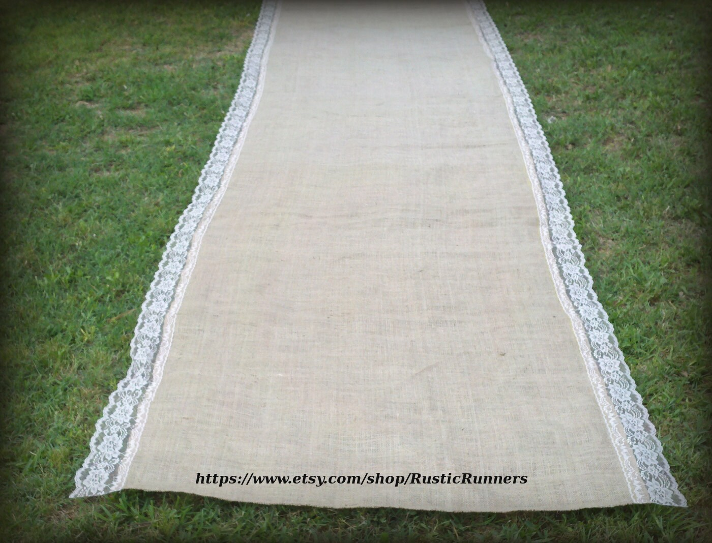 20 ft Long Wedding Burlap Aisle Runner with Natural Lace