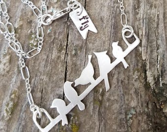 Sterling Silver Birds On A Wire Necklace