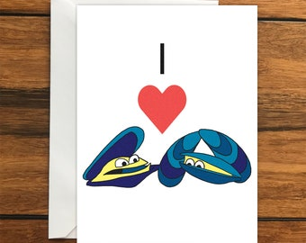 I Love Mussels One Blank Greeting card and Envelope A6