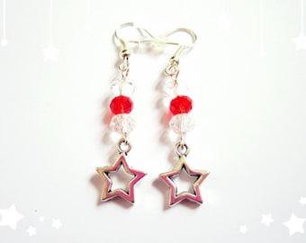 Boucles d'oreilles pendantes étoiles de Noël argent perles cristal swarovski rouge transparent