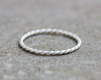 White Twist - stacking ring, Sterling silver stackable ring