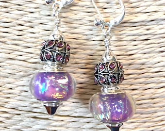 Earrings genie bottle warm cool lilac purple