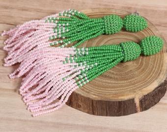 Beaded tassel earrings, beaded earrings in Oscar de La Renta style, long tassel beaded earrings, oscar de la renta tassel earrings