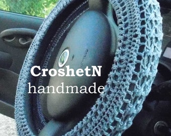 Gray Car Accessories Car Gifts Crochet Wheel Cover Car Decor Wheel Cover for car Steering wheel cozy Wheel cover Steering wheel cover H18054