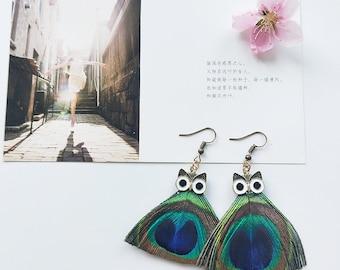 Original Design Jewelry Handmade Peacock Feather Earrings Owl Retro Feather Earrings