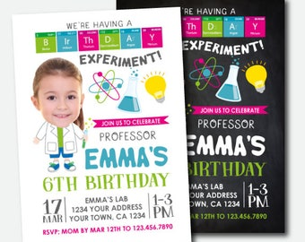 Science Birthday Invitation With Photo, Mad Scientist Party, Science Invitation, Personalized Digital Invitation, 2 options