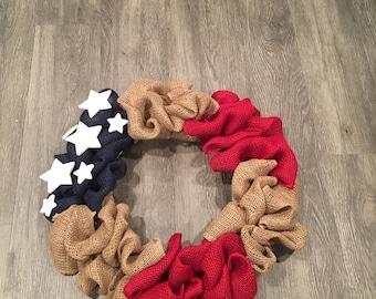 American Flag Burlap Wreath, Patriotic Wreath, 4th of July Wreath, Memorial Day Wreath, Rustic Wreath, Burlap Wreath, Farm House Wreath