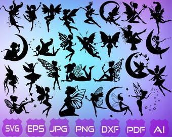 30 Fairy SVG | Fairy Silhouette | Fairy Clipart | Fairy Cut File | Fairy Vectorial | Fairies SVG | Fairy | Fairy Dxf | Instant Download |
