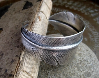 Sterling Silver Flight Feather Cuff Bracelet