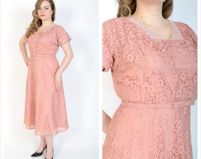 1940's Dusty Rose Cocktail Dress // 40's Chantilly Lace Dress // Size Large // Vintage Inspired Wedding Dress