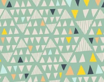AGF KNIT Majove Aloe Fabric Cotton Fabric Jersey Knit Green Triangle Fabric Art Gallery Mint Fabric Stretch Fabric Vibrant MojaveAloe Fabric