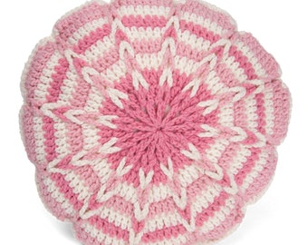 Pink Crochet Decorative Pillow