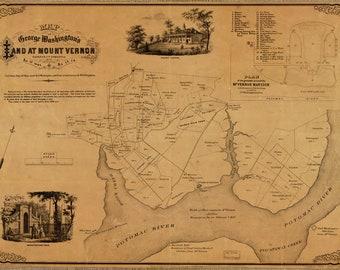 Map of George Washington's Mount Vernon; Antique Map, 1859