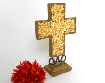 Standing Cross, Ornate Standing Cross, Decorative Cross, Table Cross, Gold Leaf Cross, Night Stand Cross, Cross on Stand, Cross on Pedestal