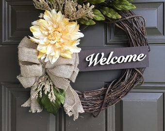 Everyday dahlia wreath for front door - 14 inch wreath - Year round wreath - welcome wreath - accent wreath - all year long wreath - gift