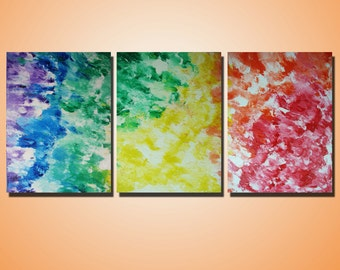 "RAINBOW - Original Painting - Heavy Acrylic Texture - Triptych Art on Canvas  24"" x 54"" x 3/4"""
