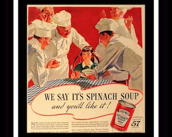 1935 Campbells Cream of Spinach Soup Ad w Chefs - Wall Art - Home Decor - Kitchen - Campbell's - Retro Vintage Food Advertising