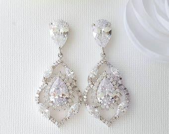 Zirconia Bridal Earrings, Crystal Wedding Earrings, Drop Earrings, Clear Teardrop Crystals, Bride Earrings, Wedding Bridal Jewelry, Laila