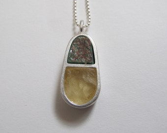 sterling silver teardrop necklace. Handmade stonework necklace. Sterling silver teardrop necklace. Green stone necklace. Yellow Stone.