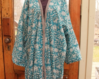 Hand blocked Cotton Vegetable Dyed BOHEMIAN HIPPIE KIMONO