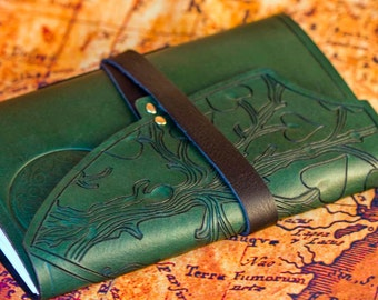 Leather notebook, Celtic journal, leather journal, green journal, tree journal, tree of life journal, book of shadows, celtic notebook